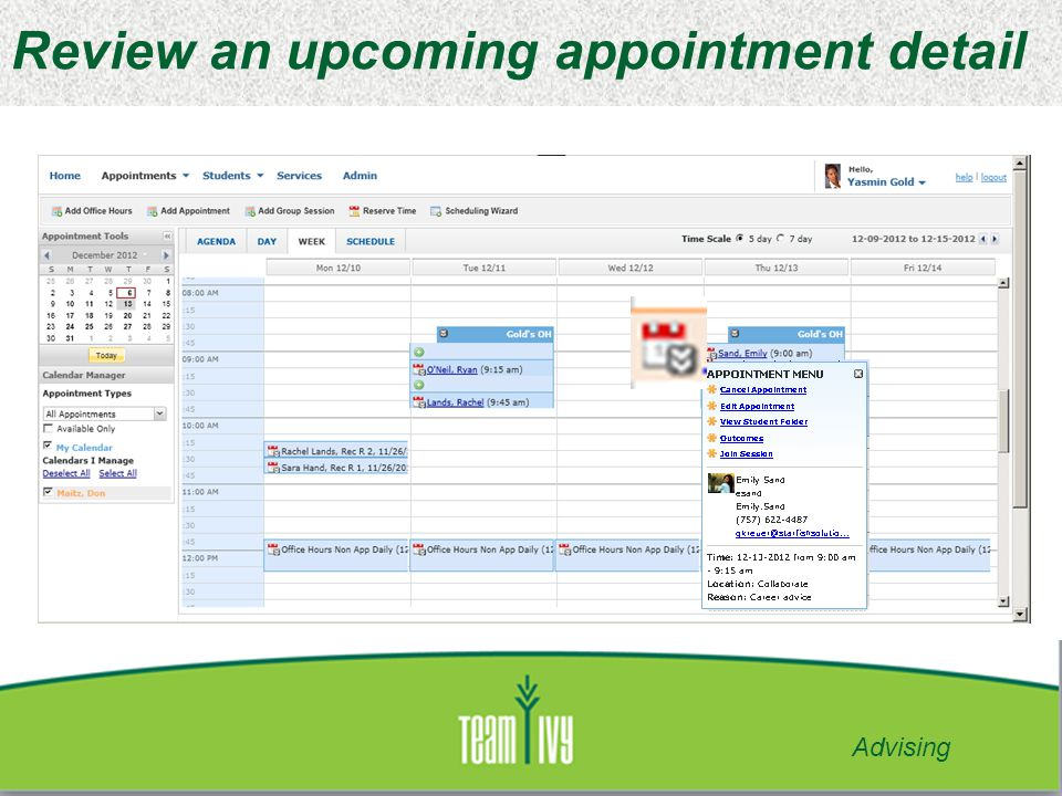 Review an upcoming appointment detail Advising