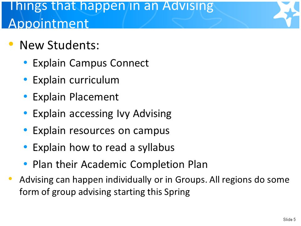 Things that happen in an Advising Appointment New Students: Explain Campus Connect Explain curriculum Explain Placement Explain accessing Ivy Advising