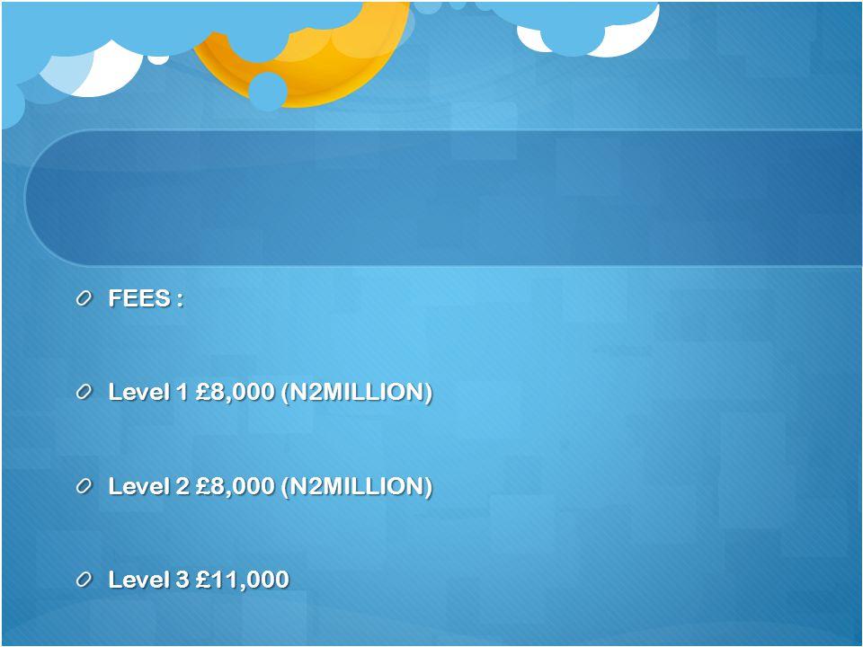 FEES : Level 1 £8,000 (N2MILLION) Level 2 £8,000 (N2MILLION) Level 3 £11,000