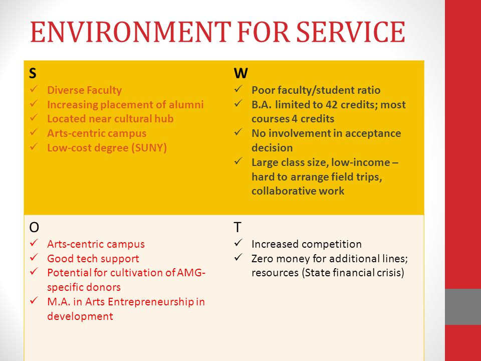 ENVIRONMENT FOR SERVICE S Diverse Faculty Increasing placement of alumni Located near cultural hub Arts-centric campus Low-cost degree (SUNY) W Poor faculty/student ratio B.A.