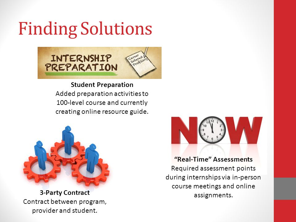 Finding Solutions 3-Party Contract Contract between program, provider and student.