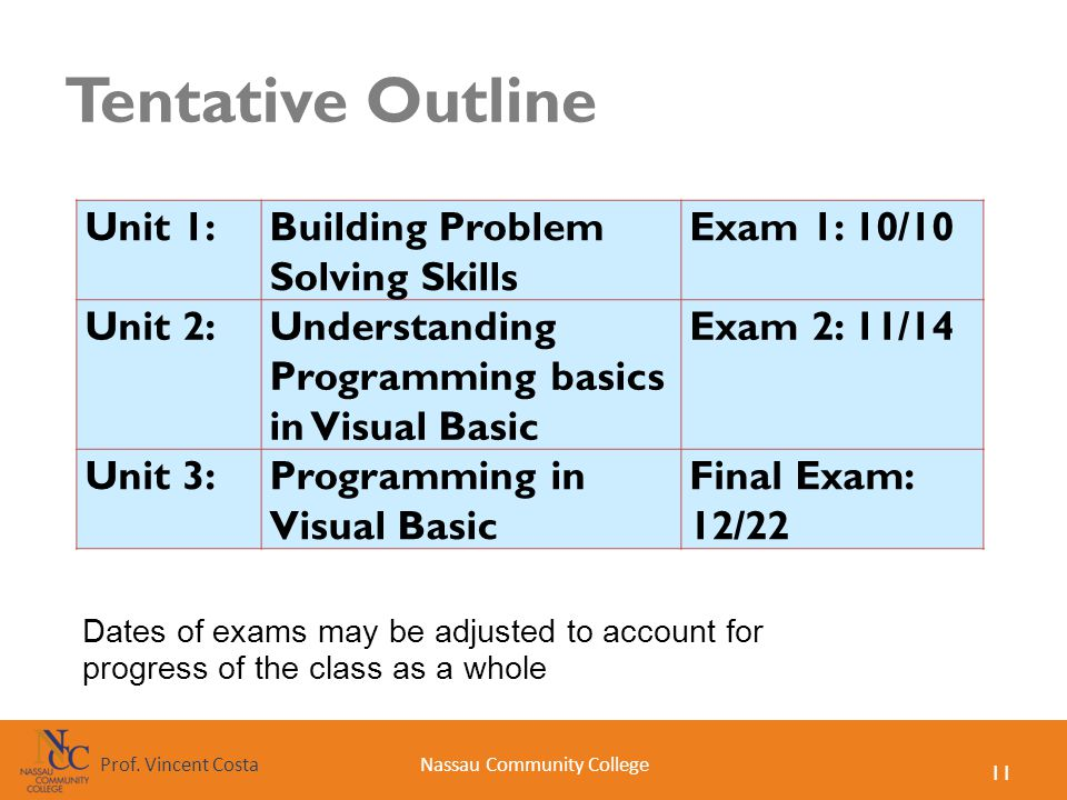 11 Nassau Community CollegeProf. Vincent Costa Tentative Outline Unit 1:Building Problem Solving Skills Exam 1: 10/10 Unit 2:Understanding Programming