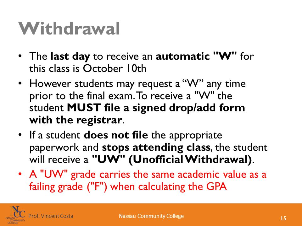 15 Nassau Community CollegeProf. Vincent Costa Withdrawal The last day to receive an automatic