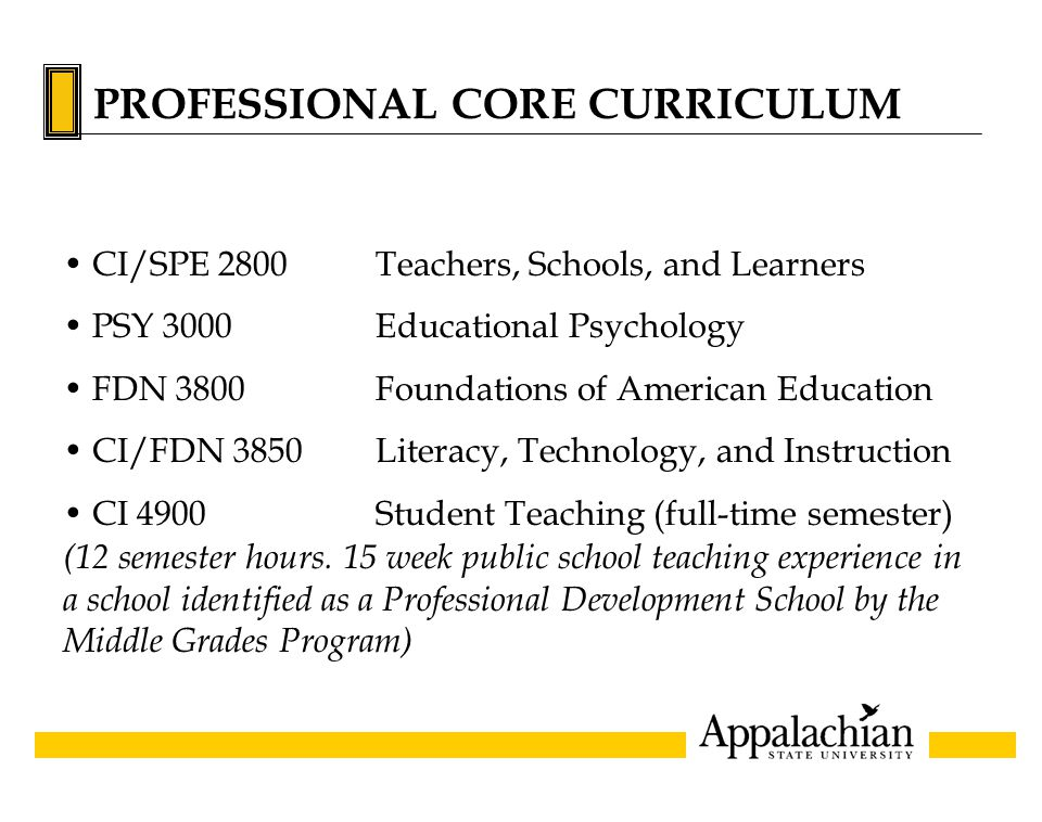 PROFESSIONAL CORE CURRICULUM CI/SPE 2800Teachers, Schools, and Learners PSY 3000Educational Psychology FDN 3800Foundations of American Education CI/FDN 3850Literacy, Technology, and Instruction CI 4900Student Teaching (full-time semester) (12 semester hours.
