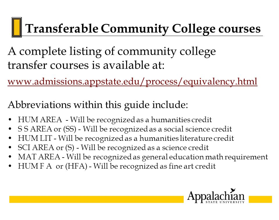 Transferable Community College courses A complete listing of community college transfer courses is available at: www.admissions.appstate.edu/process/e