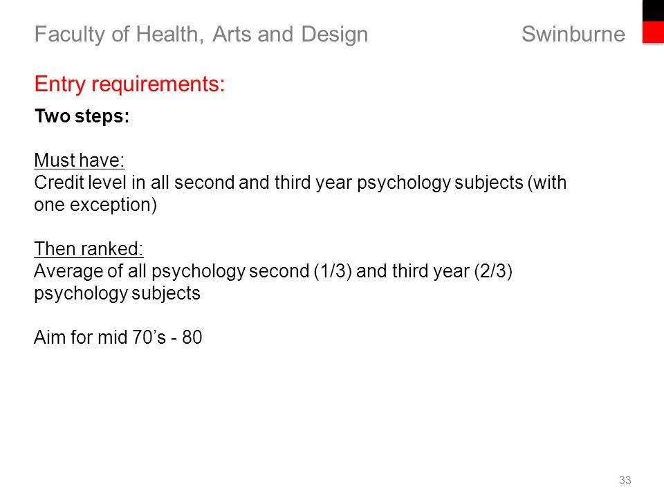 Swinburne Faculty of Health, Arts and Design 33 Entry requirements: Two steps: Must have: Credit level in all second and third year psychology subjects (with one exception) Then ranked: Average of all psychology second (1/3) and third year (2/3) psychology subjects Aim for mid 70's - 80