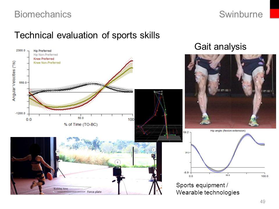 Swinburne Biomechanics Gait analysis 49 Technical evaluation of sports skills Sports equipment / Wearable technologies