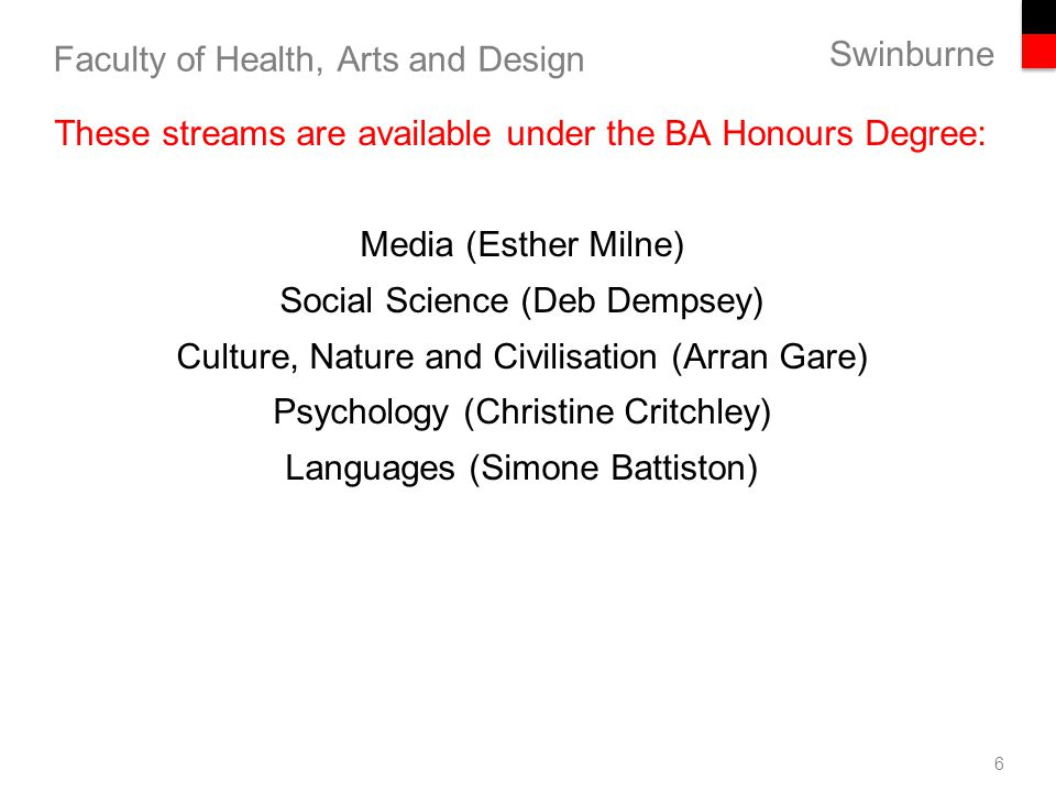 Honours in Media (Games, Writing, PR, Advertising, Cinema & Screen Studies and Journalism) Esther Milne Convenor 7