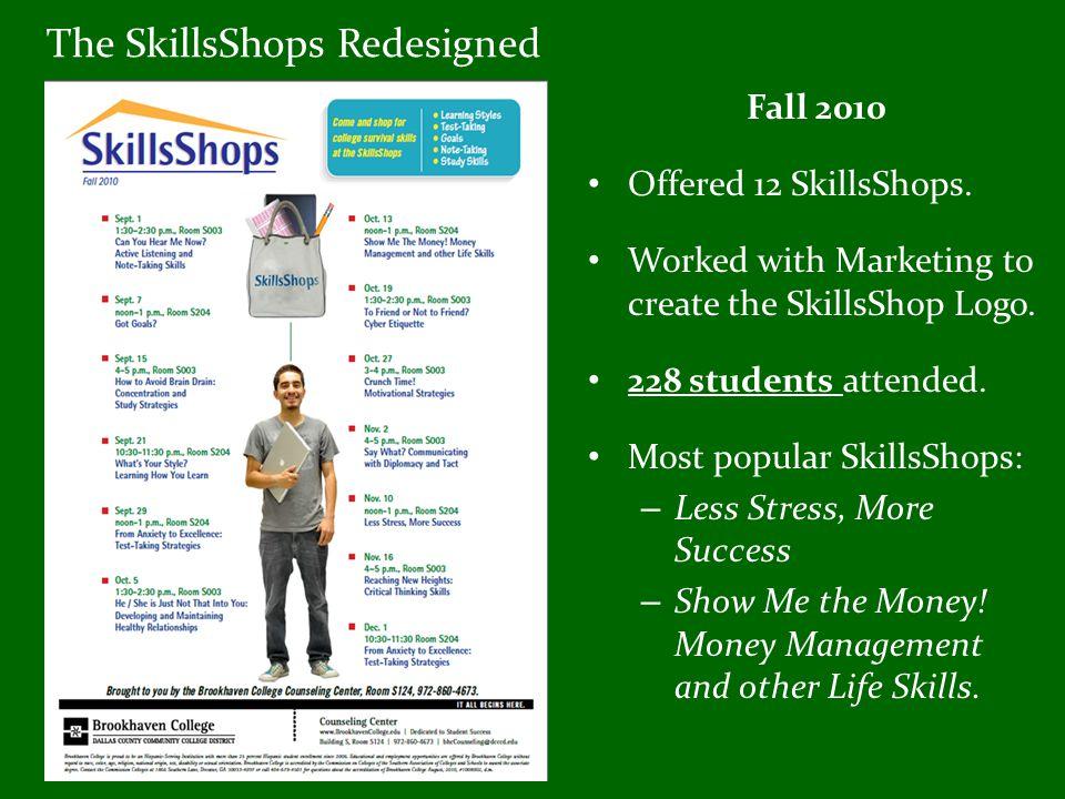 The SkillsShops Redesigned Fall 2010 Offered 12 SkillsShops.