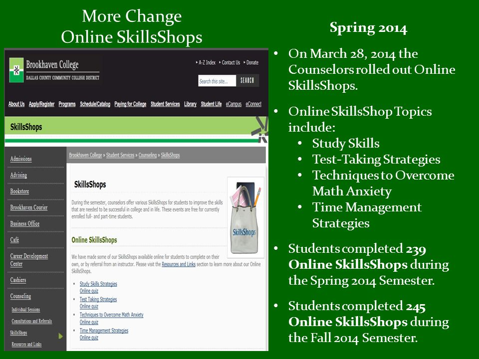 More Change Online SkillsShops Spring 2014 On March 28, 2014 the Counselors rolled out Online SkillsShops.