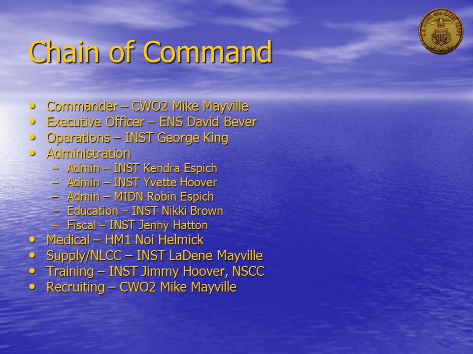 Chain of Command Commander – CWO2 Mike Mayville Commander – CWO2 Mike Mayville Executive Officer – ENS David Bever Executive Officer – ENS David Bever Operations – INST George King Operations – INST George King Administration Administration –Admin – INST Kendra Espich –Admin – INST Yvette Hoover –Admin – MIDN Robin Espich –Education – INST Nikki Brown –Fiscal – INST Jenny Hatton Medical – HM1 Noi Helmick Medical – HM1 Noi Helmick Supply/NLCC – INST LaDene Mayville Supply/NLCC – INST LaDene Mayville Training – INST Jimmy Hoover, NSCC Training – INST Jimmy Hoover, NSCC Recruiting – CWO2 Mike Mayville Recruiting – CWO2 Mike Mayville