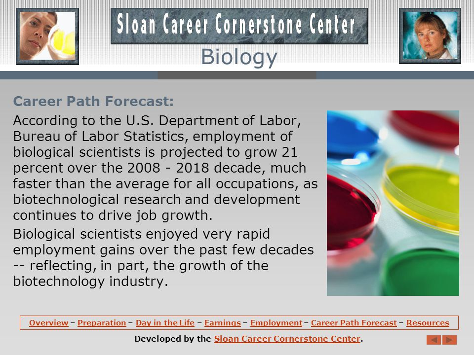 Employment (continued): Federal biological scientists worked mainly for the U.S.