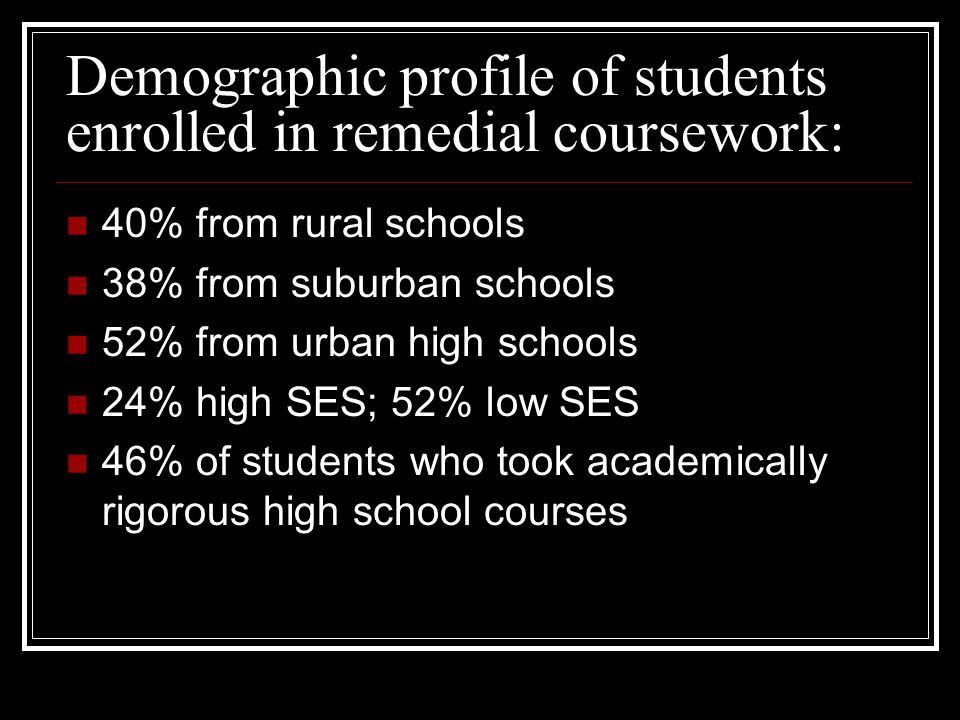 Demographic profile of students enrolled in remedial coursework: 40% from rural schools 38% from suburban schools 52% from urban high schools 24% high