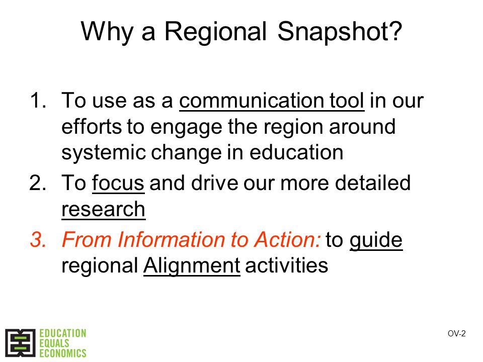 Why a Regional Snapshot.