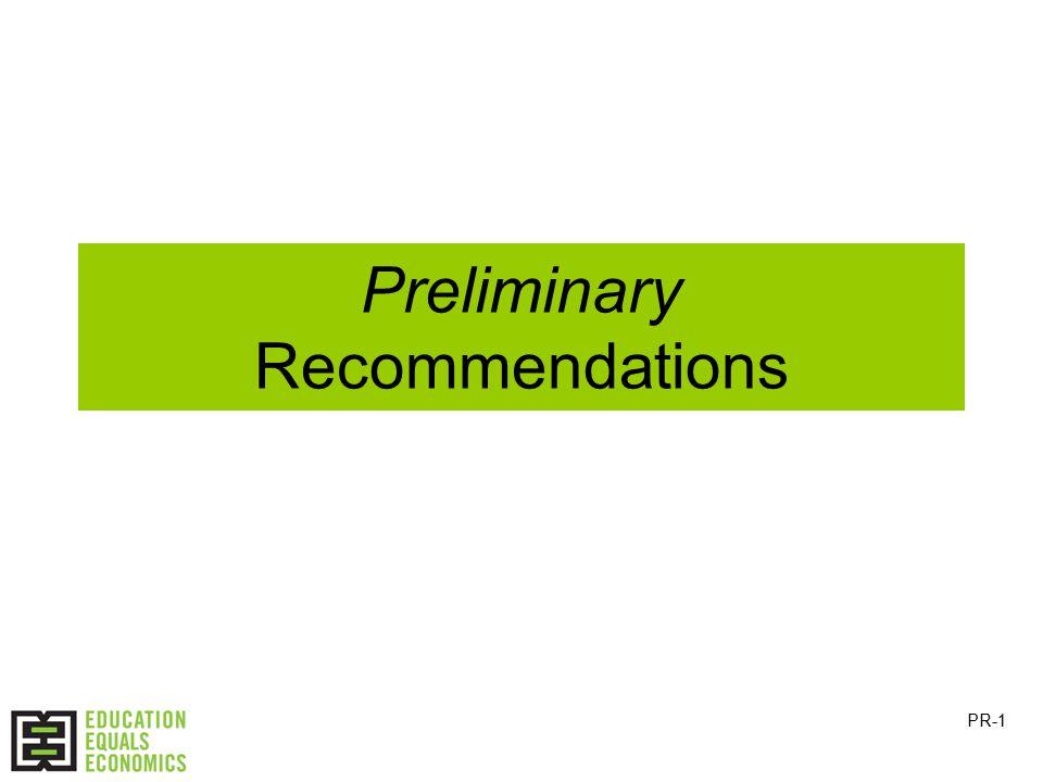 Preliminary Recommendations PR-1