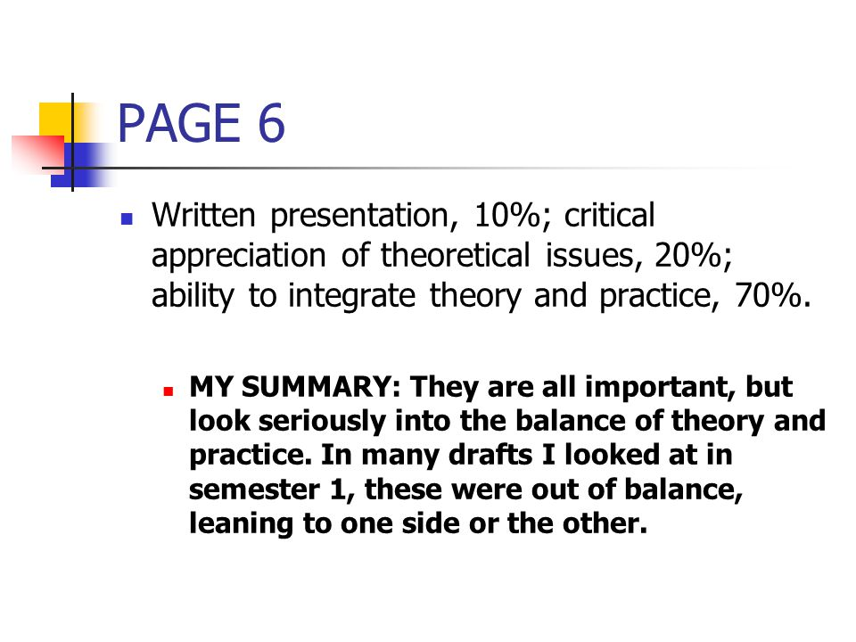 PAGE 6 Written presentation, 10%; critical appreciation of theoretical issues, 20%; ability to integrate theory and practice, 70%.