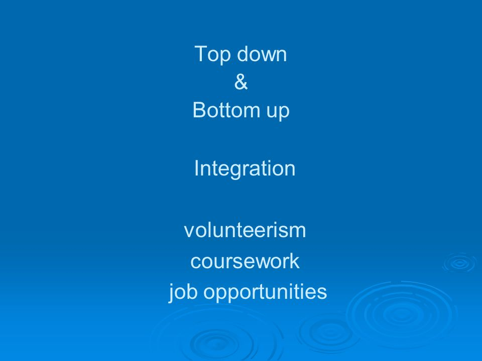 Top down & Bottom up Integration volunteerism coursework job opportunities