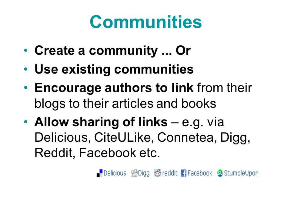 Communities Create a community...