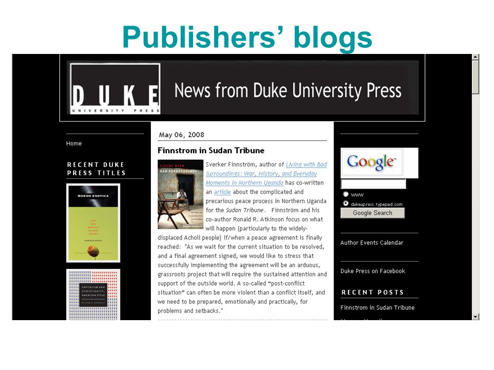 Publishers' blogs