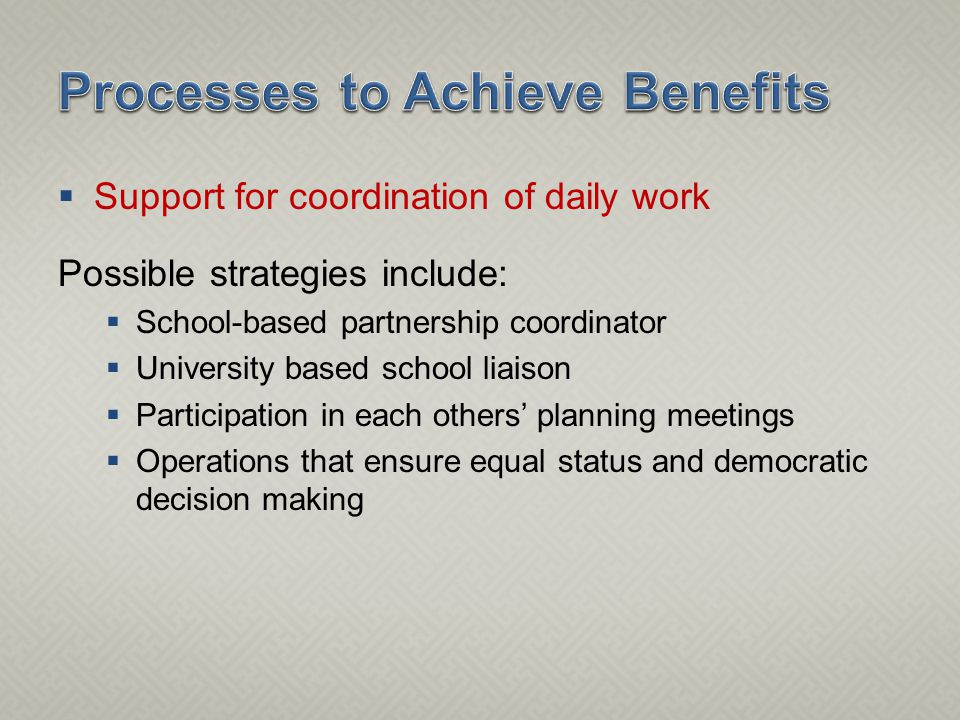  Support for coordination of daily work Possible strategies include:  School-based partnership coordinator  University based school liaison  Participation in each others' planning meetings  Operations that ensure equal status and democratic decision making