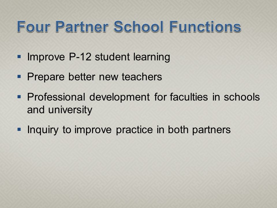  Improve P-12 student learning  Prepare better new teachers  Professional development for faculties in schools and university  Inquiry to improve practice in both partners