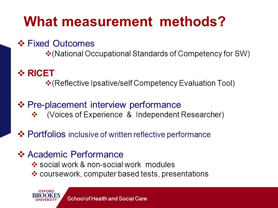 School of Health and Social Care What measurement methods.