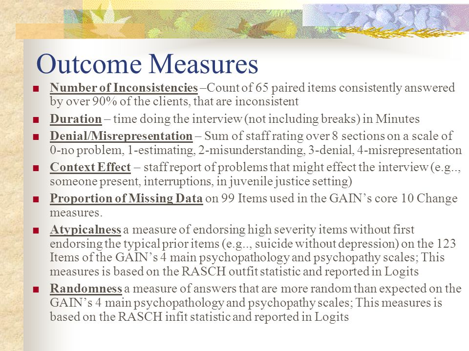 Other ASAM Issues (not in TEDS) 0.31 0.08 0.84 0.27 0.79 0.59 0.70 0.76 0.70 0.81 0.82 0.45 0% 10%20%30%40%50%60%70%80%90%100% Any withdrawal symptoms past week Severe withdrawal (11+ symptoms) Sexually active in past 90 days Major health problems Any co-occurring psychiatric Ever physical, sexual or emotional victimization Doesn t acknowledge AOD problem Doesn t acknowledges need for treatment Regular alcohol use in recovery environment Regular drug use in recovery environment Any violence or illegal activity Any past year violent crime