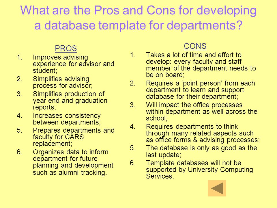 What are the Pros and Cons for developing a database template for departments? PROS 1.Improves advising experience for advisor and student; 2.Simplifi