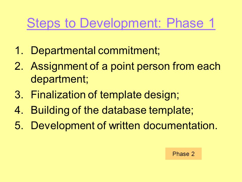 Steps to Development: Phase 1 1.Departmental commitment; 2.Assignment of a point person from each department; 3.Finalization of template design; 4.Bui