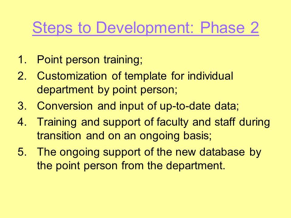 Steps to Development: Phase 2 1.Point person training; 2.Customization of template for individual department by point person; 3.Conversion and input o