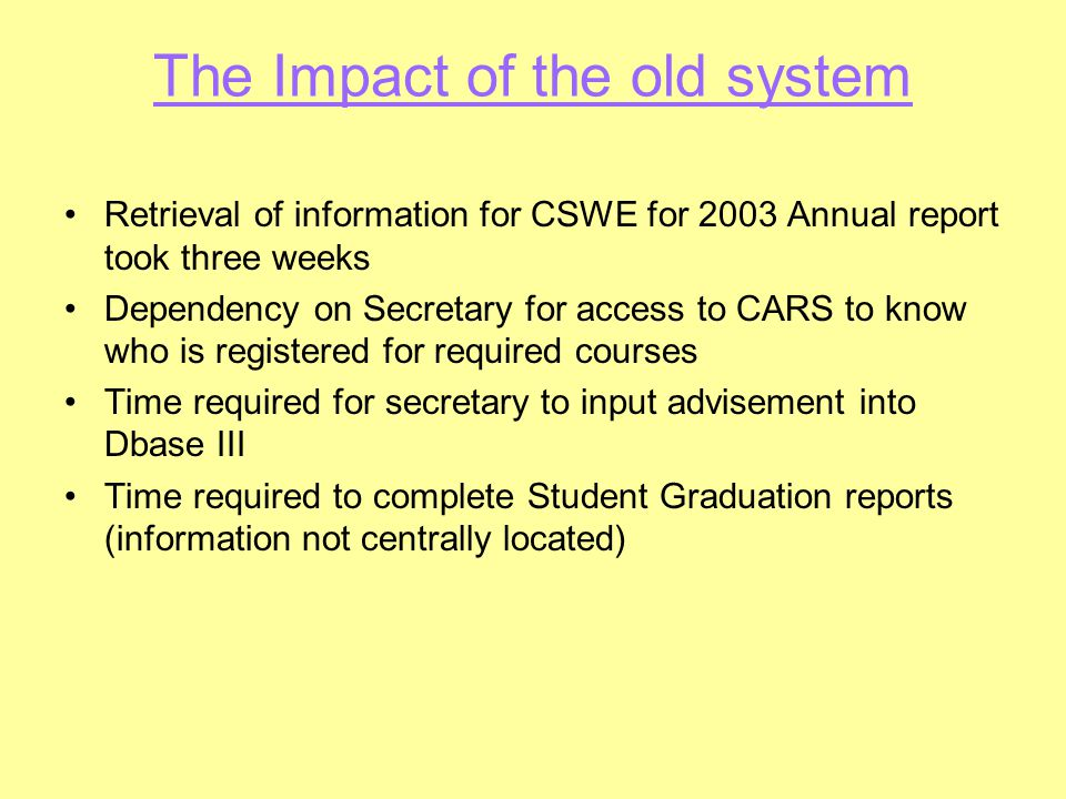 The Impact of the old system Retrieval of information for CSWE for 2003 Annual report took three weeks Dependency on Secretary for access to CARS to k