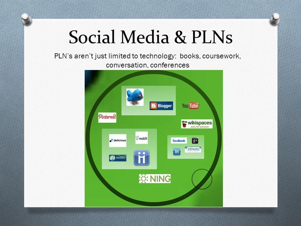 Social Media & PLNs PLN's aren't just limited to technology: books, coursework, conversation, conferences