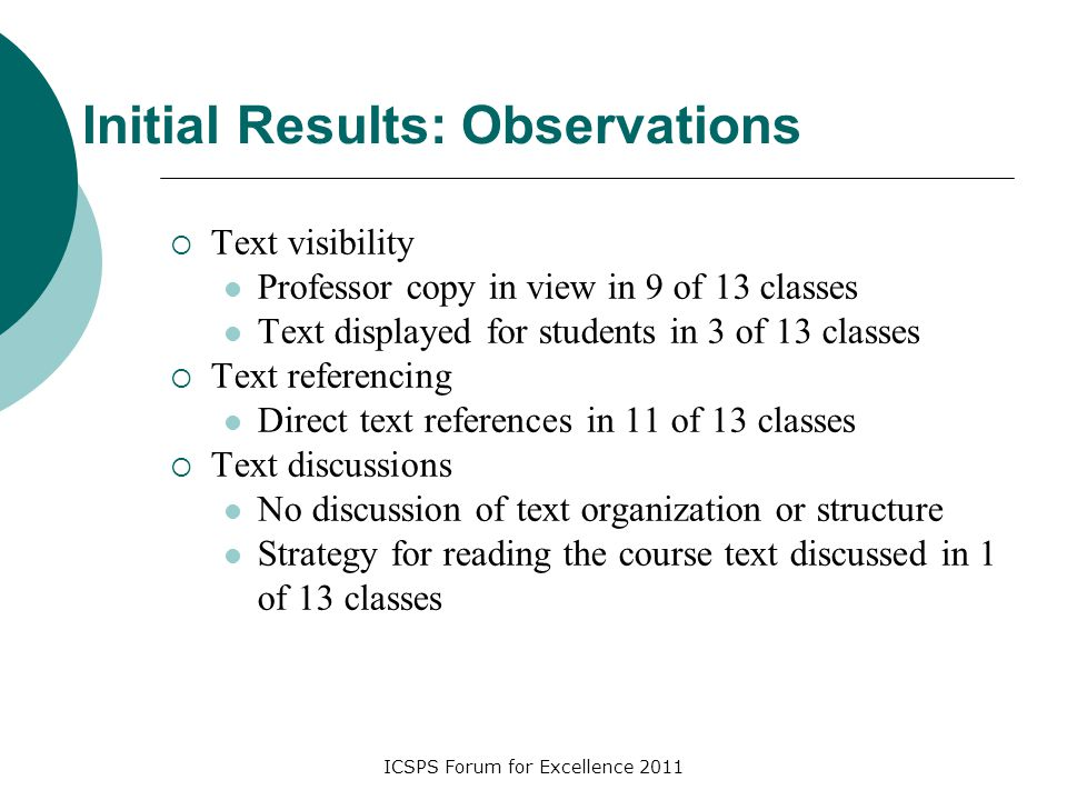 ICSPS Forum for Excellence 2011 Initial Results: Observations  Text visibility Professor copy in view in 9 of 13 classes Text displayed for students