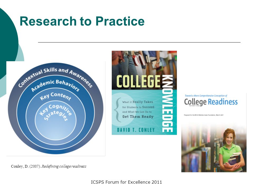 ICSPS Forum for Excellence 2011 Research to Practice Conley, D. (2007). Redefining college readiness