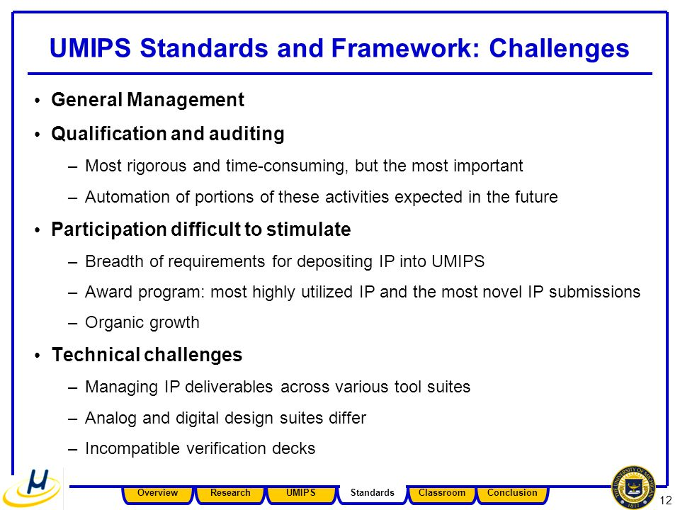 12 UMIPS Standards and Framework: Challenges General Management Qualification and auditing –Most rigorous and time-consuming, but the most important –Automation of portions of these activities expected in the future Participation difficult to stimulate –Breadth of requirements for depositing IP into UMIPS –Award program: most highly utilized IP and the most novel IP submissions –Organic growth Technical challenges –Managing IP deliverables across various tool suites –Analog and digital design suites differ –Incompatible verification decks Overview Research UMIPS Standards Classroom Conclusion