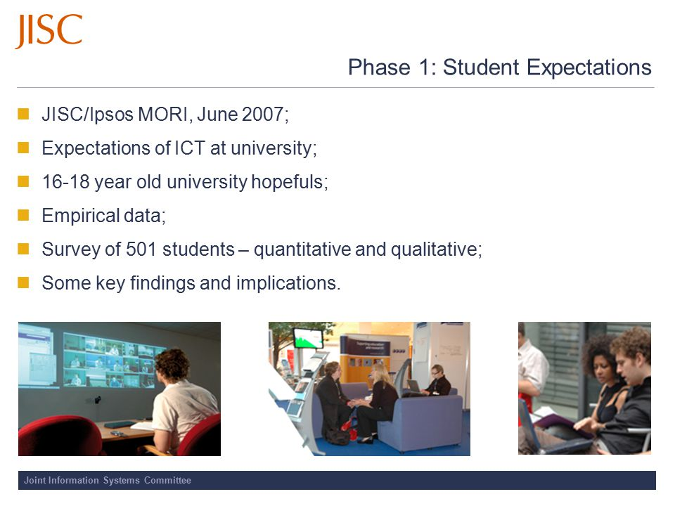 Joint Information Systems Committee Phase 1: Student Expectations JISC/Ipsos MORI, June 2007; Expectations of ICT at university; 16-18 year old univer