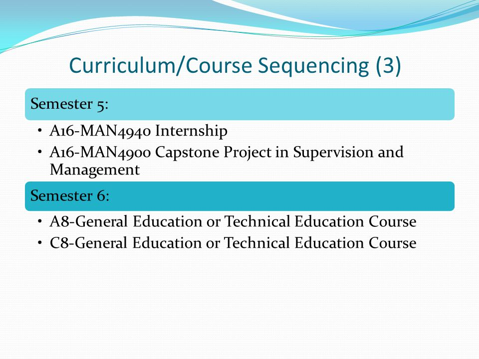 Semester 5: A16-MAN4940 Internship A16-MAN4900 Capstone Project in Supervision and Management Semester 6: A8-General Education or Technical Education Course C8-General Education or Technical Education Course Curriculum/Course Sequencing (3)