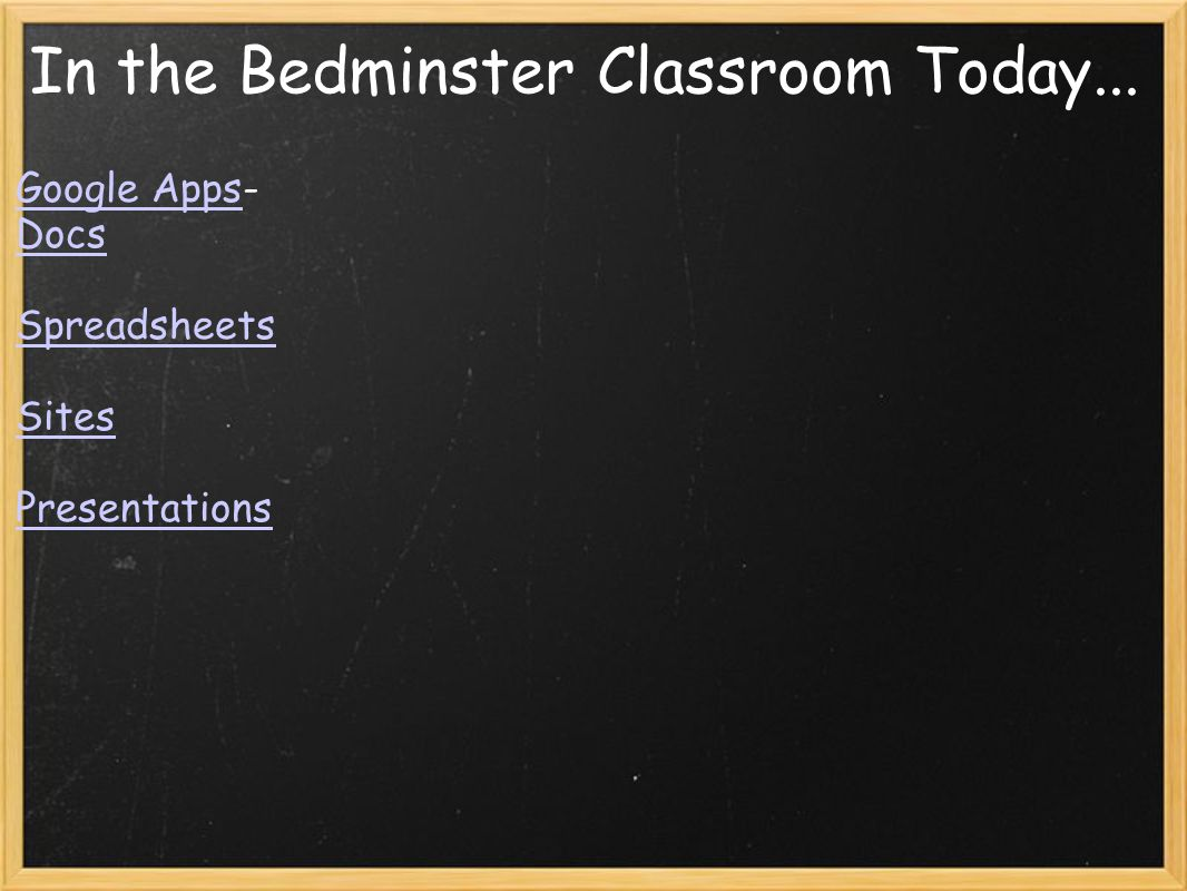In the Bedminster Classroom Today... Google AppsGoogle Apps- Docs Spreadsheets Sites Presentations
