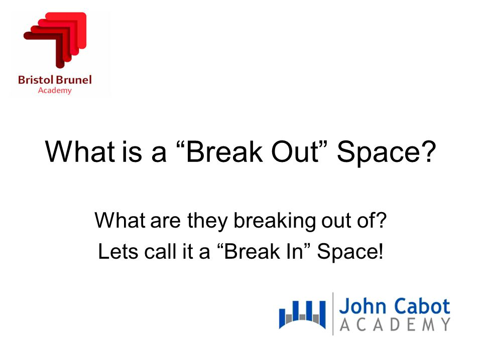 What is a Break Out Space What are they breaking out of Lets call it a Break In Space!