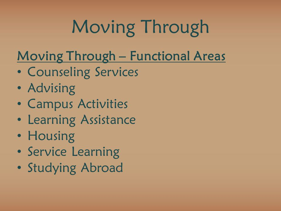Moving Through Moving Through – Functional Areas Counseling Services Advising Campus Activities Learning Assistance Housing Service Learning Studying Abroad
