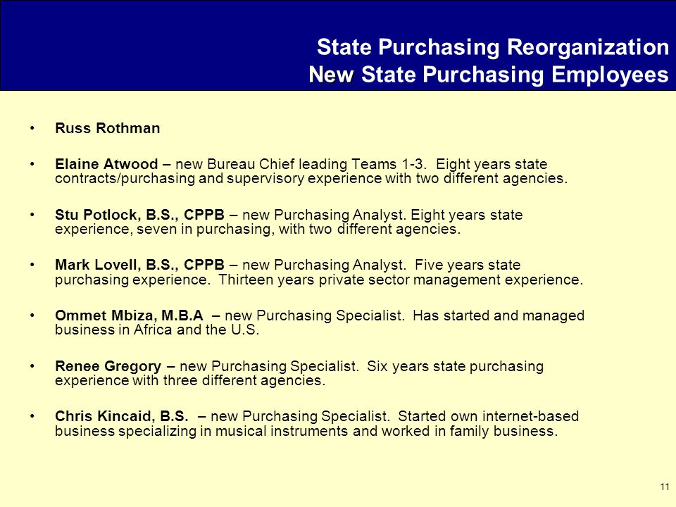 11 New State Purchasing Reorganization New State Purchasing Employees Russ Rothman Elaine Atwood – new Bureau Chief leading Teams 1-3.