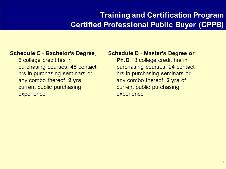 31 Schedule D - Master s Degree or Ph.D., 3 college credit hrs in purchasing courses, 24 contact hrs in purchasing seminars or any combo thereof, 2 yrs of current public purchasing experience Schedule C - Bachelor s Degree, 6 college credit hrs in purchasing courses, 48 contact hrs in purchasing seminars or any combo thereof, 2 yrs current public purchasing experience Training and Certification Program Certified Professional Public Buyer (CPPB)