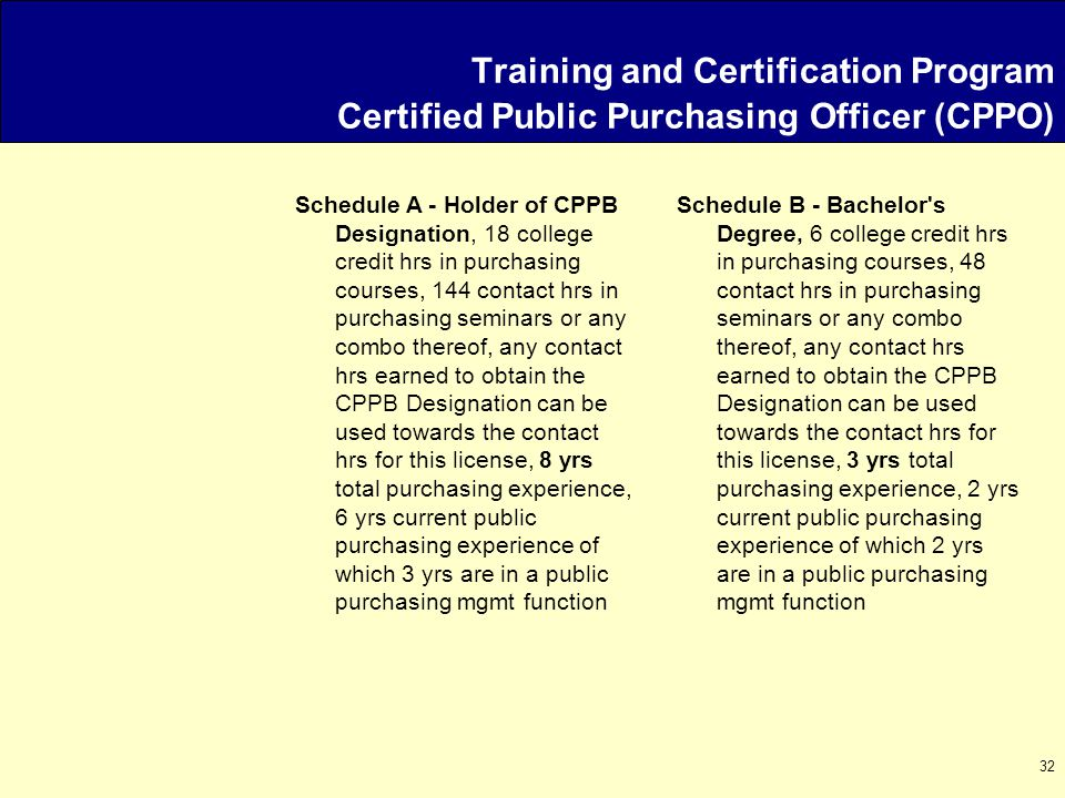 32 Schedule A - Holder of CPPB Designation, 18 college credit hrs in purchasing courses, 144 contact hrs in purchasing seminars or any combo thereof, any contact hrs earned to obtain the CPPB Designation can be used towards the contact hrs for this license, 8 yrs total purchasing experience, 6 yrs current public purchasing experience of which 3 yrs are in a public purchasing mgmt function Schedule B - Bachelor s Degree, 6 college credit hrs in purchasing courses, 48 contact hrs in purchasing seminars or any combo thereof, any contact hrs earned to obtain the CPPB Designation can be used towards the contact hrs for this license, 3 yrs total purchasing experience, 2 yrs current public purchasing experience of which 2 yrs are in a public purchasing mgmt function Training and Certification Program Certified Public Purchasing Officer (CPPO)