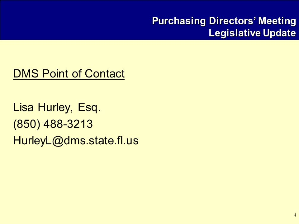 35 Purchasing Directors' Meeting August 7, 2003 Agenda  Welcome / Meeting Overview  Legislative Update  EXPO  State Purchasing Reorganization  Training and Certification Program  Strategic Sourcing  Operational Issues  Open Floor / New Issues Next Meeting Location / Time