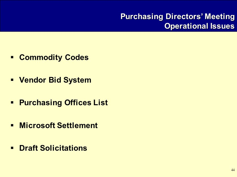 44 Purchasing Directors' Meeting Operational Issues  Commodity Codes  Vendor Bid System  Purchasing Offices List  Microsoft Settlement  Draft Solicitations