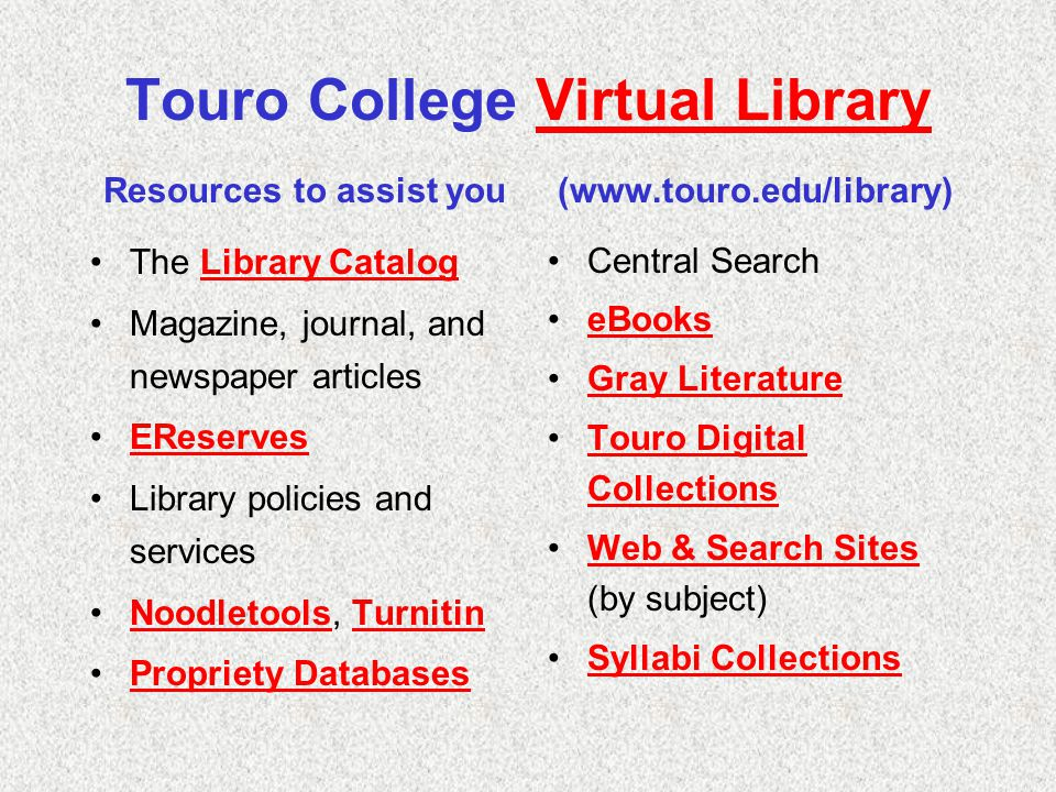 Touro College Virtual Library Resources to assist you (www.touro.edu/library)Virtual Library The Library CatalogLibrary Catalog Magazine, journal, and newspaper articles EReserves Library policies and services Noodletools, TurnitinNoodletoolsTurnitin Propriety Databases Central Search eBooks Gray Literature Touro Digital CollectionsTouro Digital Collections Web & Search Sites (by subject)Web & Search Sites Syllabi Collections