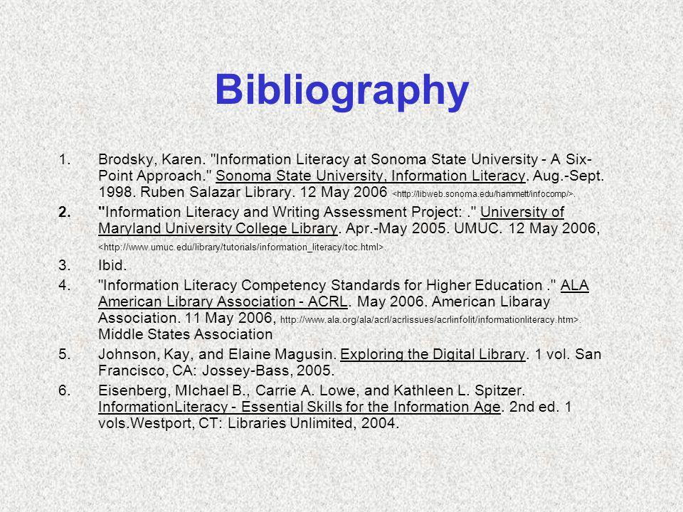 Bibliography 1.Brodsky, Karen.