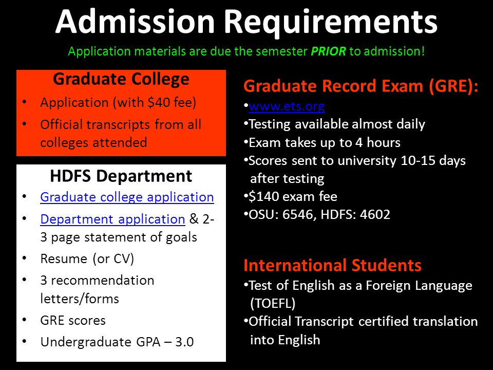 Admission Requirements Application materials are due the semester PRIOR to admission! Graduate College Application (with $40 fee) Official transcripts