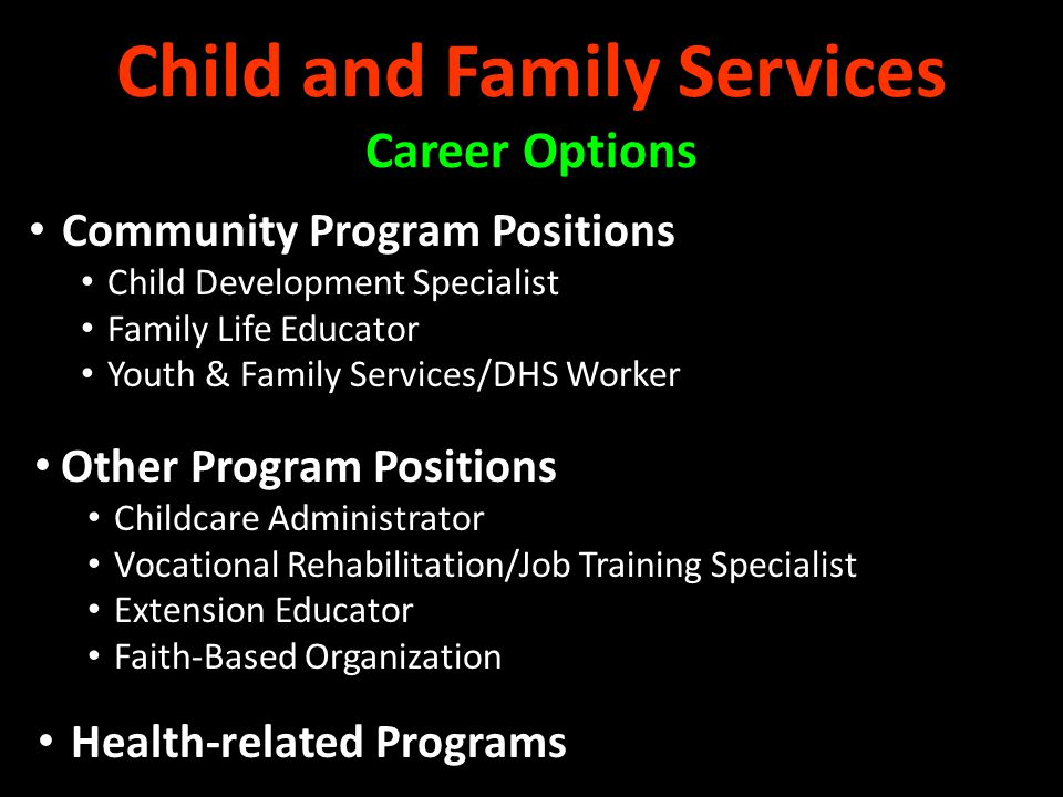 Child and Family Services Career Options Community Program Positions Child Development Specialist Family Life Educator Youth & Family Services/DHS Wor