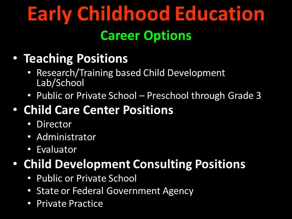 Teaching Positions Research/Training based Child Development Lab/School Public or Private School – Preschool through Grade 3 Child Care Center Positio